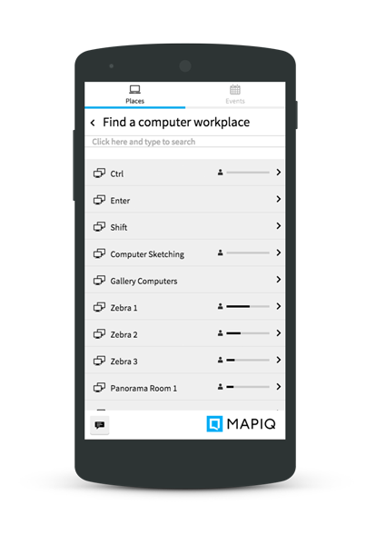 A phone showing a list of workplaces, indicating the amount of available places per room.